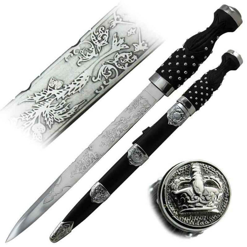 Knockout Knucks Hand Made King Dagger with Black Leather Sheath