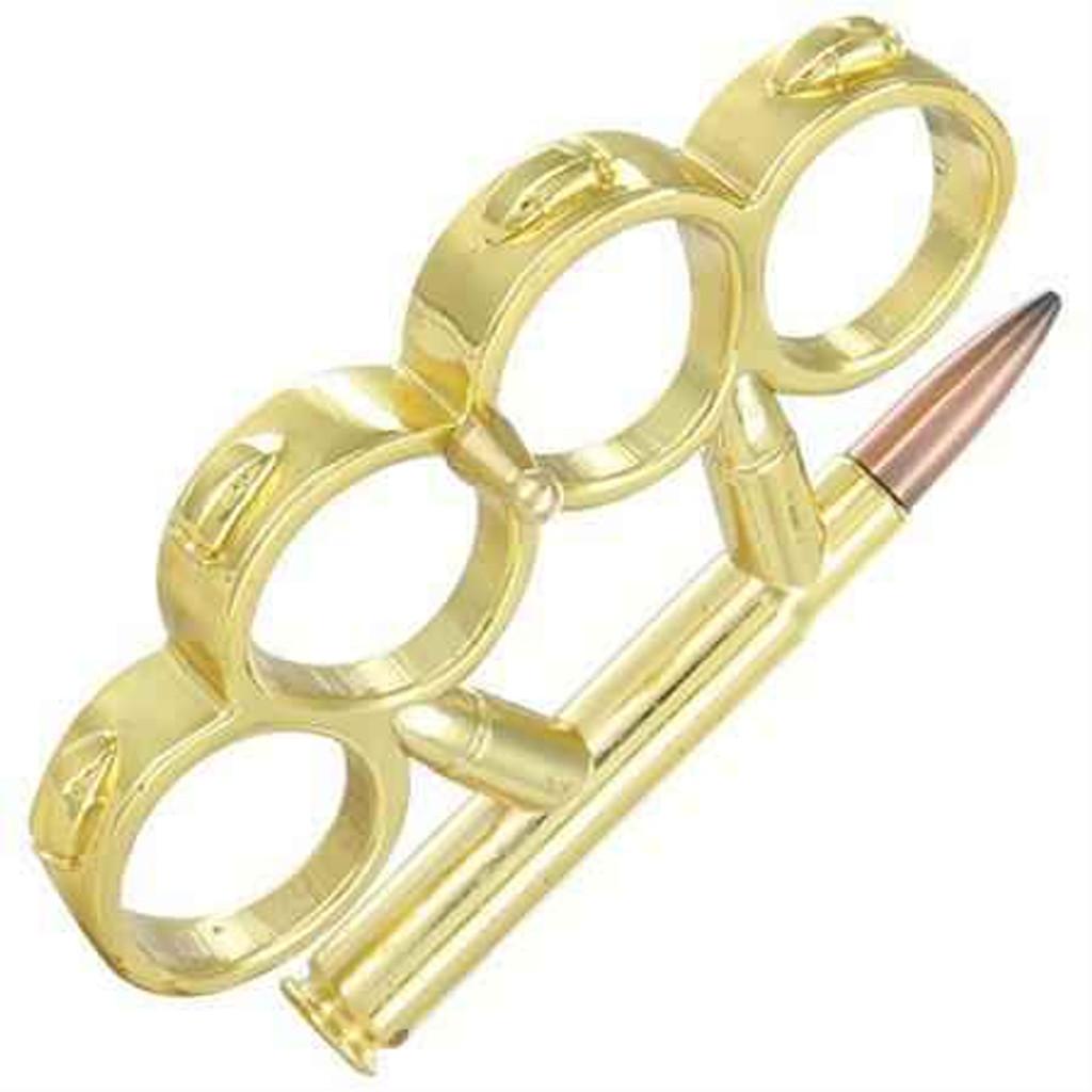 Knockout Knucks Full Metal Jacket - Bullet Knuckle Knife Gold
