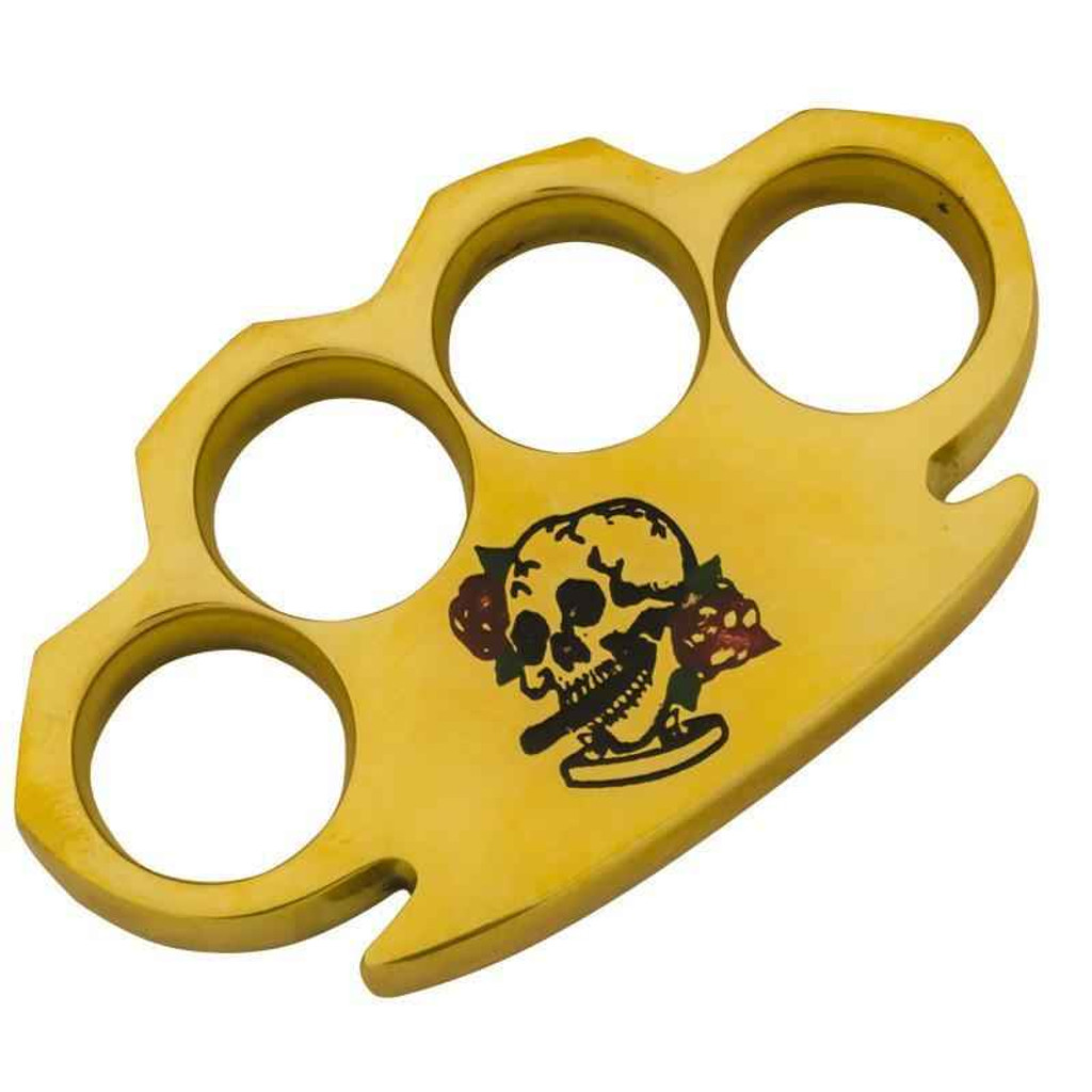 Knockout Knucks Heavy Duty Real Brass Buckle Skull and Roses