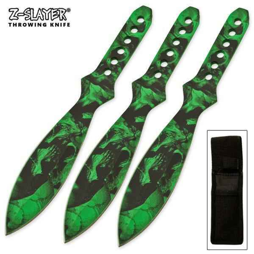 Knockout Knucks Green Death 3 PC Throwers by Z-Slayer Throwing Knives