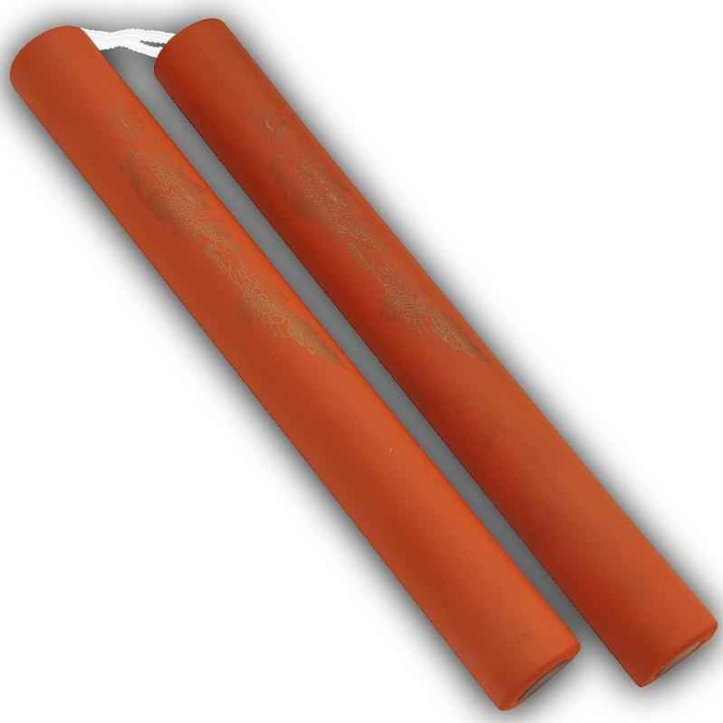 Knockout Knucks Foam Practice Nunchucks Orange W/ Rope