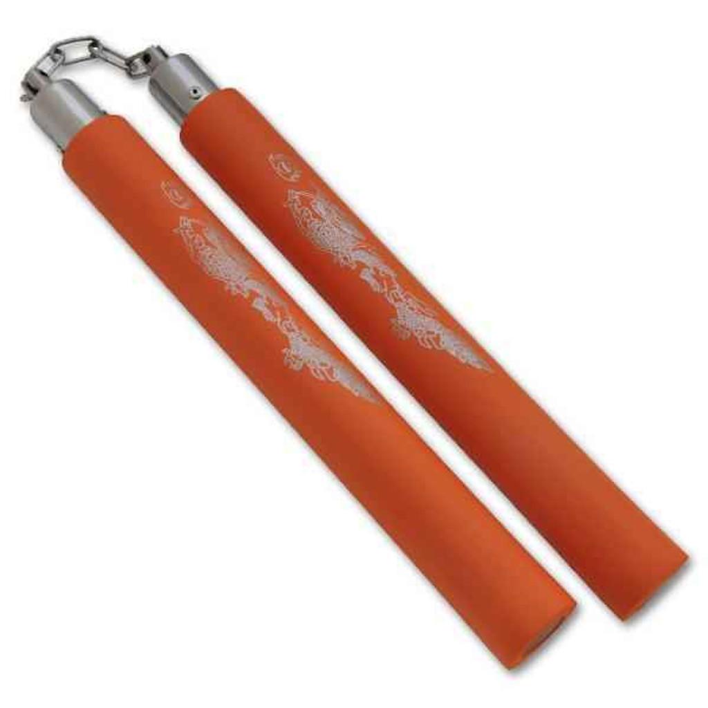Knockout Knucks Foam Practice Nunchucks Orange/Silver Design
