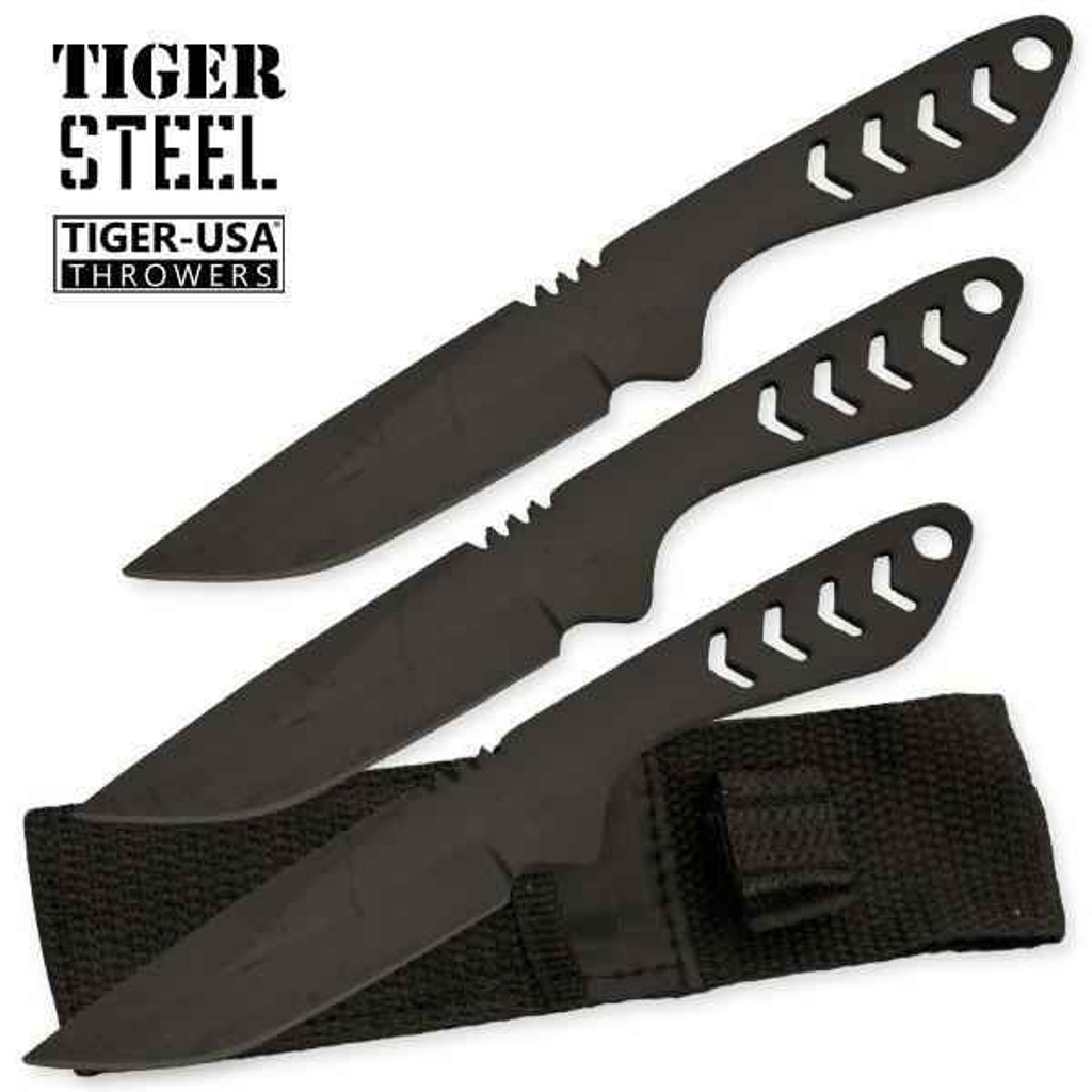 Knockout Knucks 3 PC Tiger Steel Throwing Knife Set