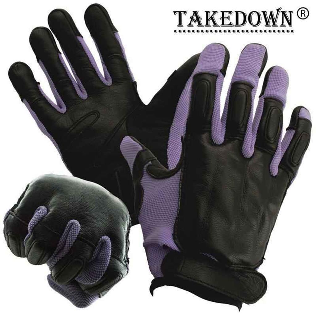 vendor-unknown Takedown Purple Full Finger Sap Gloves w/ Steel Shot Knuckles - Large