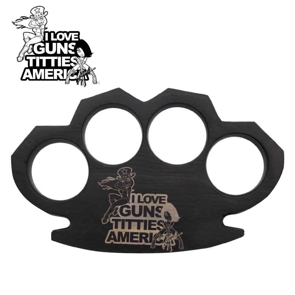 Knockout Knucks Guns, Titties and America- Steam Punk Black Knuckles