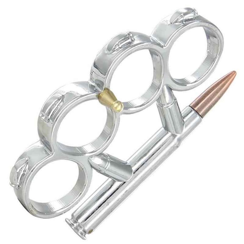 Knockout Knucks Full Metal Jacket - Bullet Knuckle Knife Silver