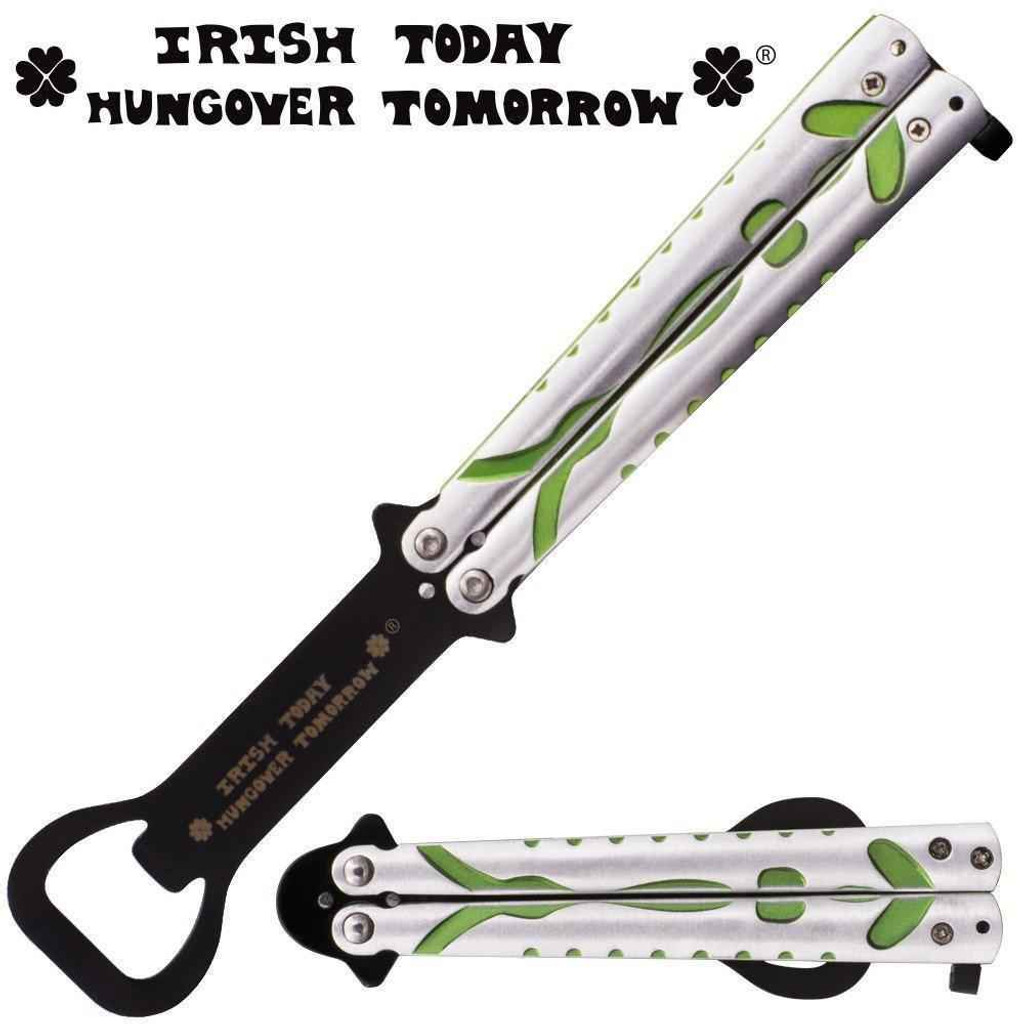 Knockout Knucks Irish Today Hungover Tomorrow 8.5 Inch Bartender Butterfly Folder Silver, Black, Green