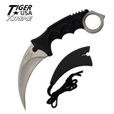 Knockout Knucks Karambit Ranger- Silver Damascus Fixed Blade Neck Knife with Sheath