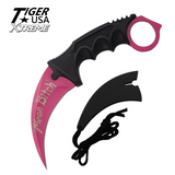 Knockout Knucks Karambit Ranger - Pink Fixed Blade Neck Knife with Sheath