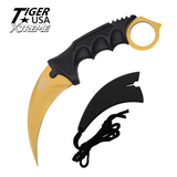 Knockout Knucks Karambit Ranger- Gold Fixed Blade Neck Knife with Sheath