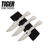 Knockout Knucks 3 PC Silver Tiger Steel 1045 Stainless Throwing Knives