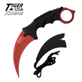 Knockout Knucks Karambit Ranger- Red Fixed Blade Neck Knife with Sheath