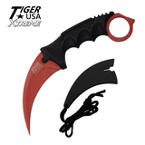 Knockout Knucks Karambit Ranger- Red Damascus Fixed Blade Karambit Neck Knife with Sheath