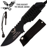 Eagle Firestarter Knife With Nylon Sheath and Paracord (Black)