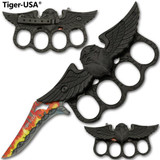 Fire and Barbed Wire Eagle Knuckle Knife