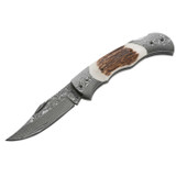 """<p><font size=""""3"""">This piece impresses with its intricate, 71-layer Damascus steel blade and Damascus bolsters boasting a fine grain. The perfectly fitted scales, made of genuine stag, add a rugged touch. The extremely smooth action of the blade and precise locking mechanism prove the high quality standard of the Boker Plus Series. Blade length: 3 1/8&quot;. Overall length: 7&quot;. Weight: 4.1 oz </font></p> <p><font size=""""3"""">Overall length: 7&quot;<br /> Blade length: 3 1/8&quot;<br /> Weight: 4.1 oz.<br /> Blade material: Damascus<br /> Handle material: Stag</font></p>"""