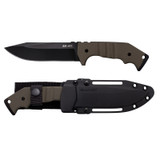 <p><big>Our AK47 series folding knives have set the standard for hard use tactical folders. A firm favorite with military personnel and special units, these rugged, dependable folding knives have seen use all over the world and in several conflict zones, and have been in our line up in various iterations for almost a decade.</big></p>  <p><big>When we decided to explore designs for a new multi-purpose fixed blade field knife that would be suitable for military use, we kept coming back to the AK47.</big></p>  <p><big>Our AK47 Field Knife is enormously sturdy and amazingly effective. With robust solid steel construction, full width tang and American G10 scales - it is function personified!</big></p>  <p><big>Expertly crafted from CPM 3v High Carbon super-steel, the AK47 Field Knife is then D.L.C (Diamond like Coated) from the tip of its beefy saber ground clip point blade to its oversized striking pommel; ensuring an unbelievably strong, razor sharp blade with a hard wearing virtually scratch resistant surface.</big></p>  <p><big>Specifications:<br /> Weight: 11.1 oz.<br /> Blade Thickness: 5 mm<br /> Blade Length: 5 1/5&quot;<br /> Handle: 4 7/8&quot; Long. OD Green G-10<br /> Overall: 10 3/8&quot;<br /> Steel: U.S. CPM 3-V High Carbon with DLC Coating<br /> Sheath: Secure-Ex&reg; Sheath</big></p>