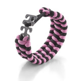 Adjustable Paracord Bracelet - Pink/Black
