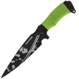 <p><big>The undead will surely run the other way when you take out your Black Legion Undead spear point knife! Featuring a 7&quot; razor-sharp, full-tang AUS-8 stainless steel blade with a black-coated finish, this spear point also features an undead blood spatter pattern. The green cord-wrapped handle provides you with a secure grip for whenever the undead strike! Includes a nylon sheath with snap closure and belt loop. 12&rdquo; overall length&nbsp;</big></p>