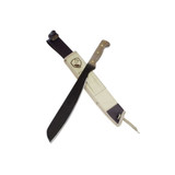 TECH SPECS  BLADE MATERIAL:4.5 MM -1075 HIGH CARBON STEEL  BLADE FINISH: NATURAL  HANDLE: WALNUT  SHEATH:CANVAS WITH LEATHER BELT LOOP