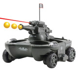 "<p><font size=""3"">This all terrain tank shoots 6 mm Airsoft BB&rsquo;s, can deliver up to 4 cans of your favorite beverage on land, and automatically covert to a boat for water travel! Features headlights, red LED on full auto gun, turbo props, 7.2V rechargeable battery, and remote control operates on 9V battery (included).<br /> </font></p>"