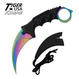 Knockout Knucks Karambit Ranger - Rainbow Damascus Fixed Blade Rainbow Neck Knife with Sheath