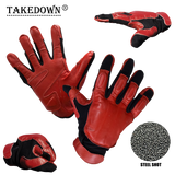 Law Enforcement Red & Black Real Leather Sap Gloves - XXL