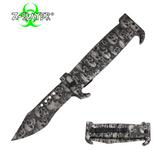 Knockout Knucks 9 Inch Trigger ActionZ-Slayer Death Curve Knife - Silver
