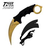 Knockout Knucks Karambit Ranger - Gold Damascus Fixed Blade Neck Knife with Sheath