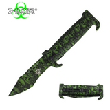 Knockout Knucks 9 Inch Trigger ActionZ-Slayer Death Curve Knife - Green