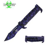 Knockout Knucks 9 Inch Trigger ActionZ-Slayer Death Curve Knife - Purple