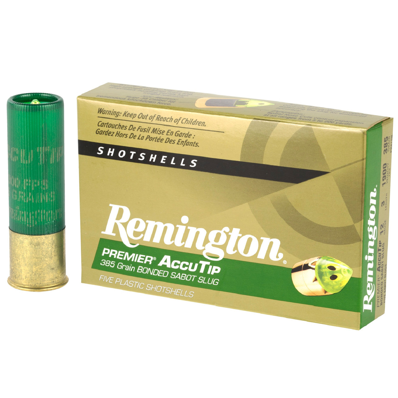 Remington Premier 12ga 3 385gr Accutip Bonded Sabot Slug With Power Port Tip 5 Box Munitions Express