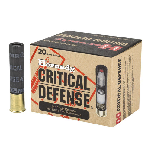 "Hornady Critical Defense .410 Bore 2-1/2"" .41 Caliber (FTX) Slug w/Two .35 Caliber Lead Round Balls 20/Box"