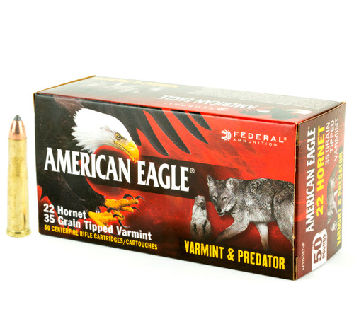 Brand: Federal American Eagle Ammo | MPN: AE22H35TVP | Use: Hunting (Foxes, Woodchucks) | Caliber: .22 Hornet | Grain: 35 | Bullet: Polymer Tip | MUNITIONS EXPRESS