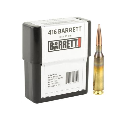 Brand: Barrett Ammo | MPN: 17222 | Use: Target, Competition | Caliber: .416 Barrett | Grain: 452 | Bullet: Boat Tail Hollow Point | MUNITIONS EXPRESS