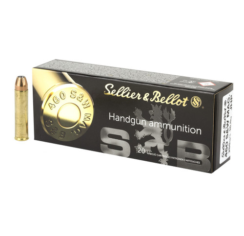 Brand: Sellier & Bellot Ammo | MPN: SB460B | Use: Hunting (Deer) | Caliber: .460 S&W Magnum | Grain: 250 | Bullet: Jacketed Hollow Point | MUNITIONS EXPRESS