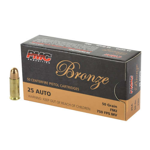 Brand: PMC Ammo | MPN: 25A | Use: Target | Caliber: .25 ACP / .25 AUTO | Grain: 50 | Bullet: Full Metal Jacket | MUNITIONS EXPRESS