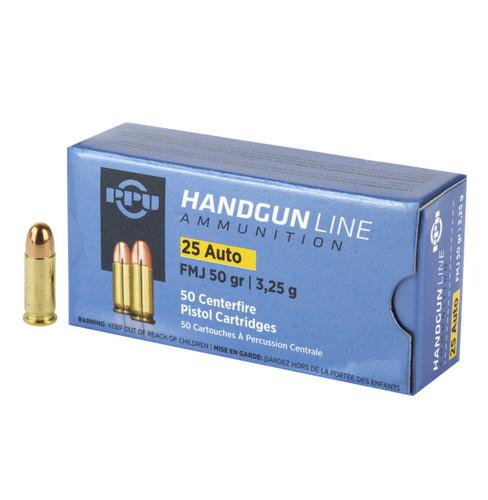 Brand: PPU (Prvi Partizan) Ammo | MPN: PPH25 | Use: Target | Caliber: .25 ACP / .25 AUTO | Grain: 50 | Bullet: Full Metal Jacket | MUNITIONS EXPRESS