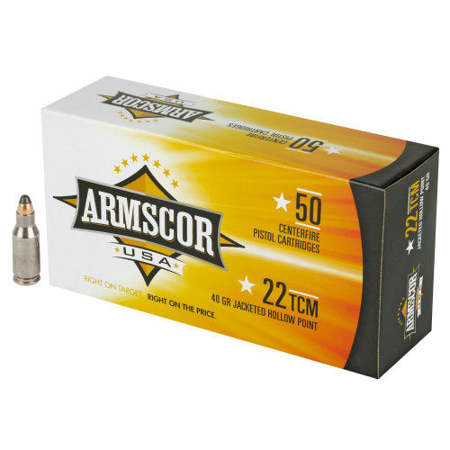 Brand: Armscor Ammo | MPN: FAC22TCM-1N | Use: Hunting (Varmint) | Caliber: .22 TCM | Grain: 40 | Bullet: Jacketed Hollow Point | MUNITIONS EXPRESS