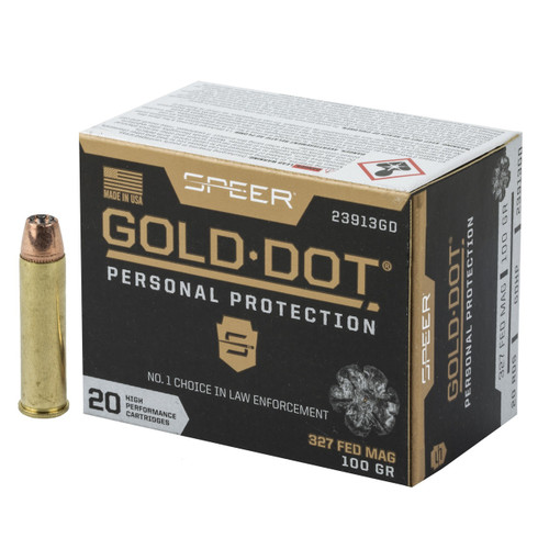 Brand: Speer Ammo | MPN: 23913GD | Use: Defense | Caliber: .327 Federal Magnum | Grain: 100 | Bullet: Jacketed Hollow Point | MUNITIONS EXPRESS