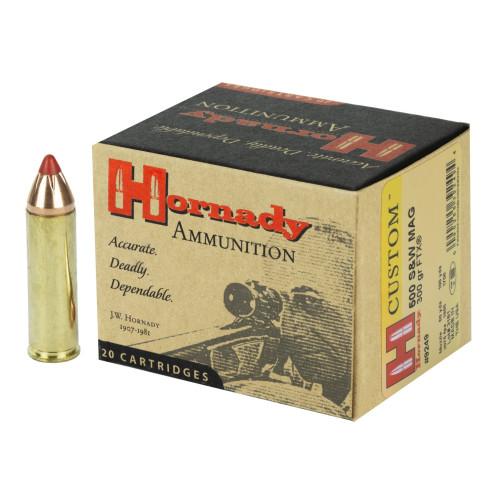 Brand: Hornady Ammo | MPN: 9249 | Use: Hunting (Buffalo, Black Bear) | Caliber: .500 S&W | Grain: 300 | Bullet: Polymer Tip | MUNITIONS EXPRESS
