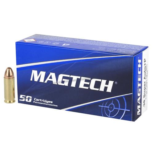 Brand: MAGTECH Ammo | MPN: 38S | Use: Target | Caliber: .38 Super +P | Grain: 130 | Bullet: Full Metal Jacket | MUNITIONS EXPRESS