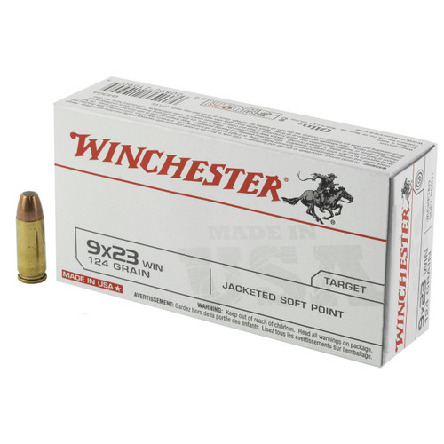 Brand: Winchester Ammo | MPN: Q4304 | Use: Target | Caliber: 9x23mm Winchester | Grain: 124 | Bullet: Jacketed Soft Point | MUNITIONS EXPRESS