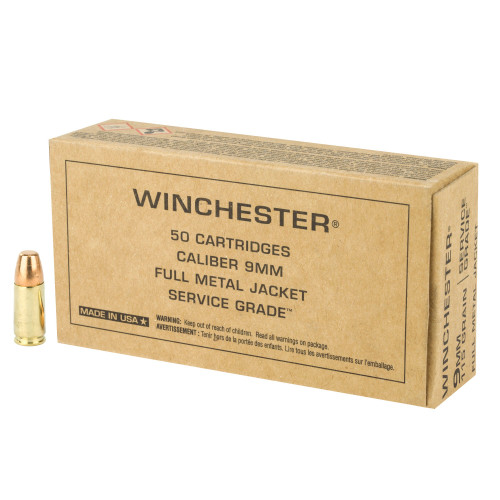 Brand: Winchester Ammo | MPN: SG9W | Use: Target | Caliber: 9mm Luger | Grain: 115 | Bullet: Full Metal Jacket | MUNITIONS EXPRESS