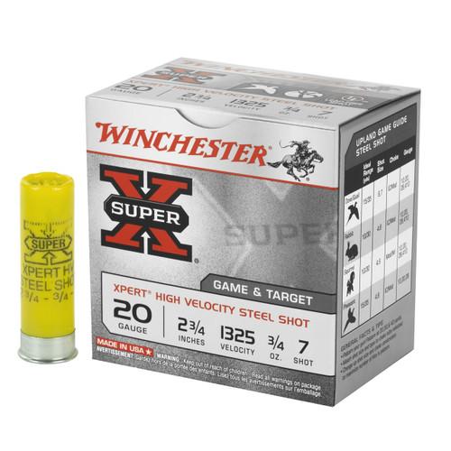 "Winchester Xpert High Velocity Game & Target 20ga 2-3/4"" 3/4 oz #7 Steel Shot Lead-Free 25/Box"