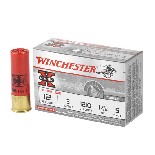 """Winchester Super-X Turkey 12ga 3"""" 1-7/8 oz #5 Copper Plated Shot 10/Box"""