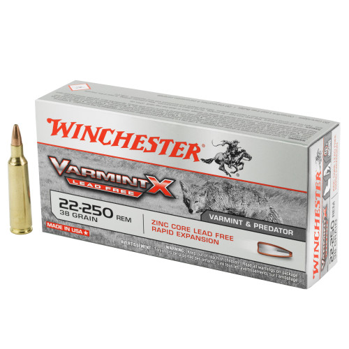 Winchester Varmint X .22-250 Remington 38gr Hollow Point Lead-Free 20/Box