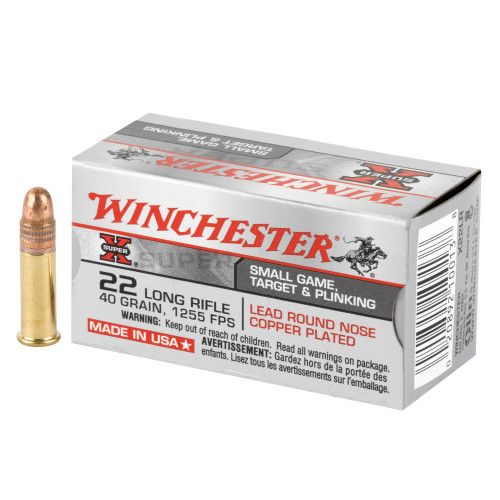Winchester Super-X High Velocity .22 Long Rifle (LR) 40gr Copper Plated Lead Round Nose 50/Box