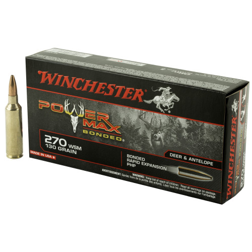 Brand: Winchester Ammo | MPN: X270SBP | Use: Hunting (Deer, Antelope) | Caliber: .270 WSM | Grain: 130 | Bullet: Bonded Jacketed Hollow Point | MUNITIONS EXPRESS