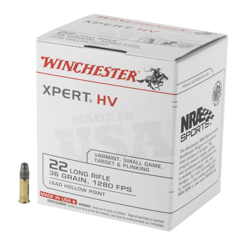 Winchester XPERT HV .22 Long Rifle (.22LR) 36gr Lead Hollow Point 500/Box
